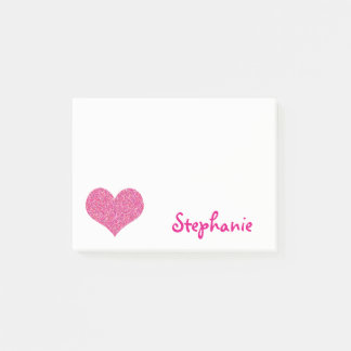 Cute Pink Heart Personalized Girly Name Post-it Notes
