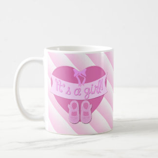 Cute Pink Heart with Bow Baby Girl Shower Basic White Mug