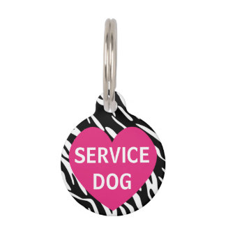 Cute Pink Heart Zebra Print Service Dog Pet Tag