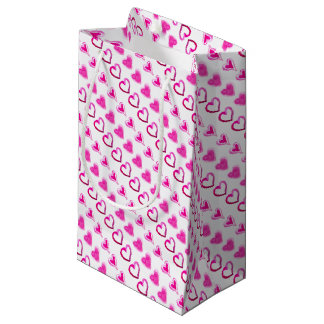 Cute Pink Hearts Forever Love Romantic Friendship Small Gift Bag