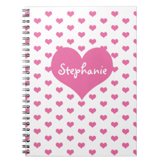 Cute Pink Hearts Girly Name Personalized Spiral Notebook