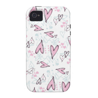 Cute Pink Hearts Love Valentine's Day Design Vibe iPhone 4 Cases