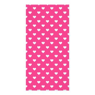 Cute Pink Hearts Pattern Customized Photo Card
