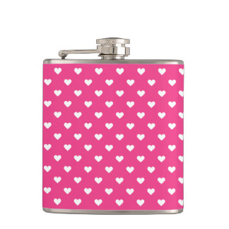 Cute Pink Hearts Pattern Hip Flask