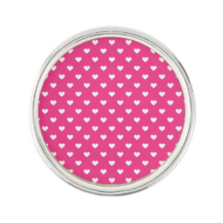 Cute Pink Hearts Pattern Lapel Pin