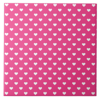 Cute Pink Hearts Pattern Tiles