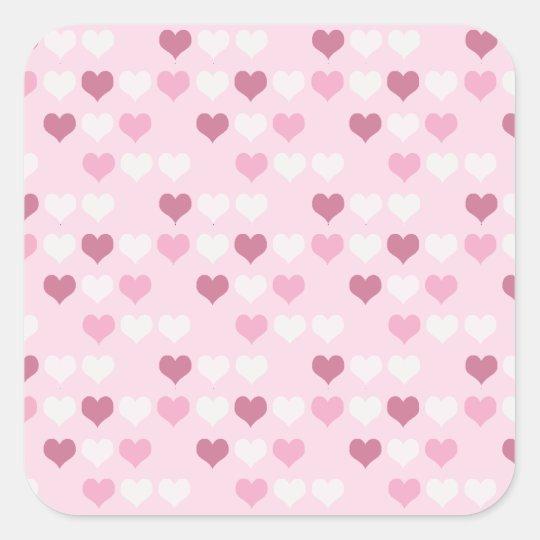 Cute Pink Hearts Square Sticker