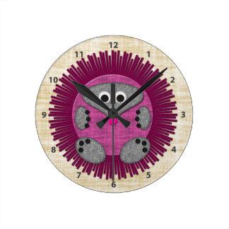 Cute Pink Hedgehog Clock