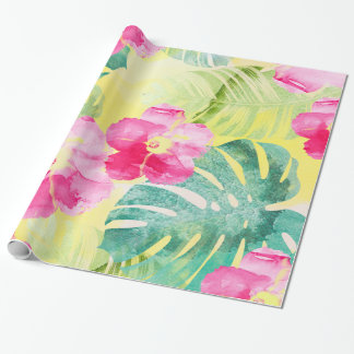 Cute Pink Hibiscus Flowers Tropical Banana Leaves Wrapping Paper