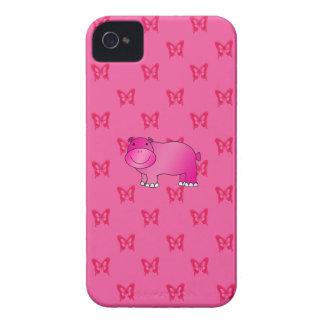 Cute pink hippo pink butterflies Case-Mate iPhone 4 case