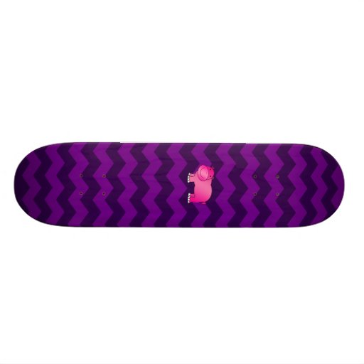 Cute pink hippo purple chevrons skateboard deck