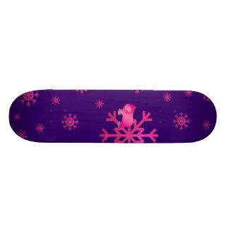 Cute pink hippo purple pink snowflakes skateboard