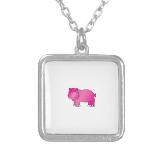 Cute pink hippo silver plated necklace