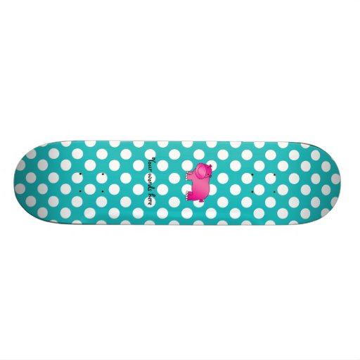 Cute pink hippo turquoise polka dots skateboard decks