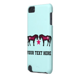 Cute Pink Horses On Blue iPod Touch 5G Case