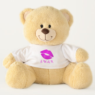 Cute Pink Hot Lips S.W.A.K Sealed with a Kiss Love Teddy Bear