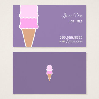 Cute Pink Ice Cream Cone - Double Scoop Business Card