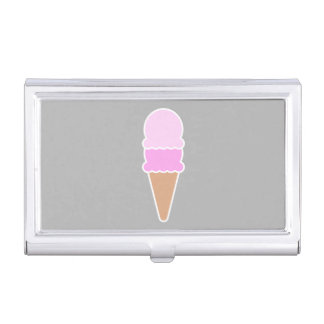 Cute Pink Ice Cream Cone - Double Scoop Business Card Holder