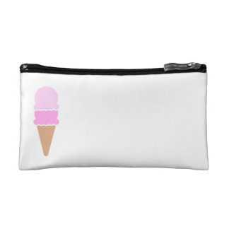 Cute Pink Ice Cream Cone - Double Scoop Makeup Bag
