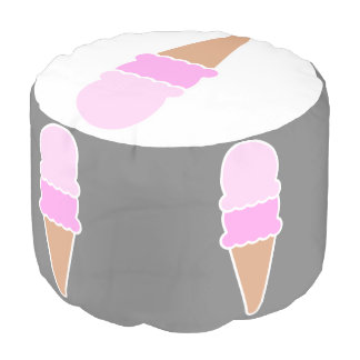 Cute Pink Ice Cream Cone - Double Scoop Pouf