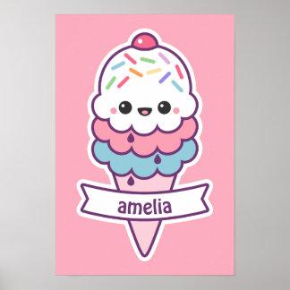 Cute Pink Ice Cream Cone Poster