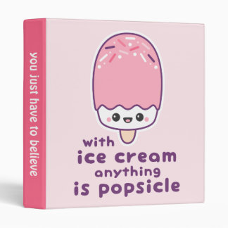 Cute Pink Ice Cream Popsicle Vinyl Binders