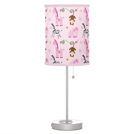 Cute Pink Jungle Animal Nursery Desk Lamps