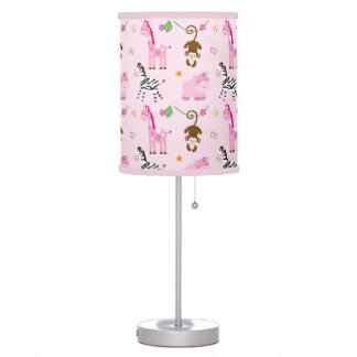 Cute Pink Jungle Animal Nursery Table Lamp