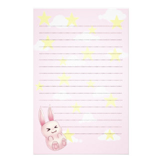 Cute pink Kawaii Bunny rabbit falling from stars Stationery
