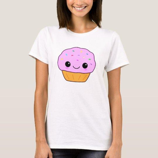Cute Pink Kawaii Cartoon Cupcake T-Shirt