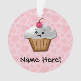Cute Pink Kawaii Happy Face Cupcake Girls