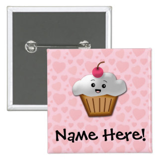 Cute Pink Kawaii Happy Face Cupcake Girls 2 Inch Square Button