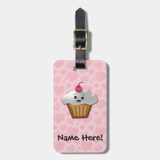 Cute Pink Kawaii Happy Face Cupcake Girls Luggage Tag