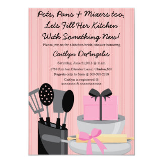 Cute Pink Kitchen Gadget Bridal Shower invitation