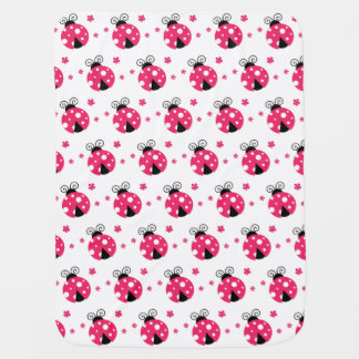 Cute Pink Labybirds and Flowers Baby Blanket