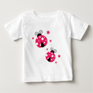 Cute Pink Labybirds and Flowers Baby T-Shirt