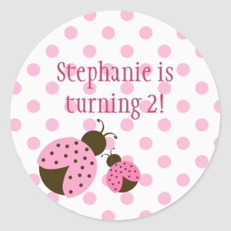 Cute pink lady bug girls birthday party stickers