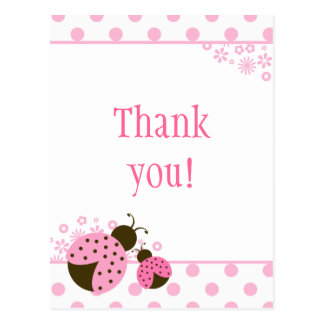Cute pink lady bug girls thank you postcard