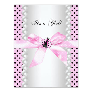 Cute Pink Ladybug Baby Shower Card
