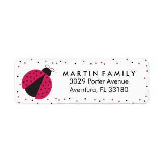 Cute Pink Ladybug Birthday or School Return Address Label