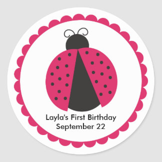 Cute Pink Ladybug Birthday Party Favor Round Sticker
