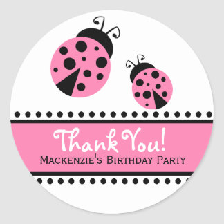 Cute Pink Ladybugs Favor Label Stickers