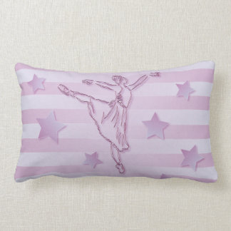 Cute pink lilac ballerina and stars pillows