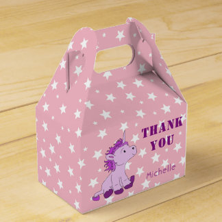 Cute Pink Litle Unicorn and Stars Birthday Party Favor Box