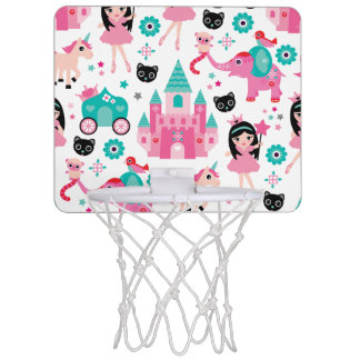 Cute Pink Little Princess Unicorn Magical Pattern Mini Basketball Hoop