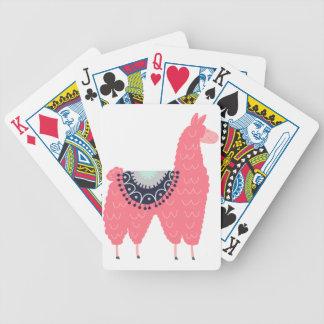 Cute Pink Llama Bicycle Playing Cards