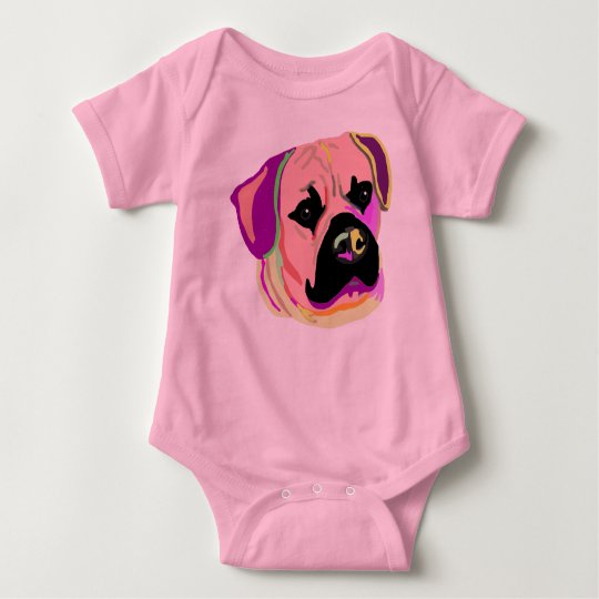 Cute pink Londonthefrengle logo on body Baby Bodysuit