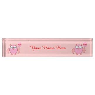 Cute Pink Love You Owl Custom Desk Nameplate