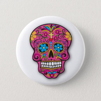 Cute Pink Mexican Sugar Skull Day of the Dead 2 Inch Round Button