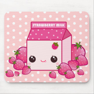 Cute pink milk carton with kawaii strawberries mouse pad